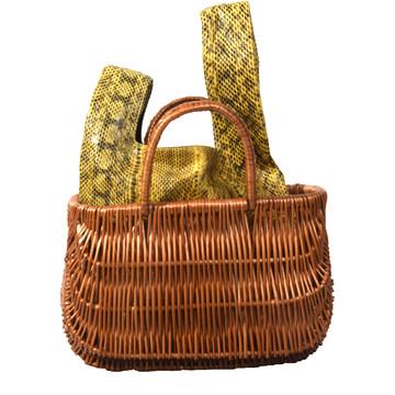 Tweedehands Vintage Handtas met rieten mand