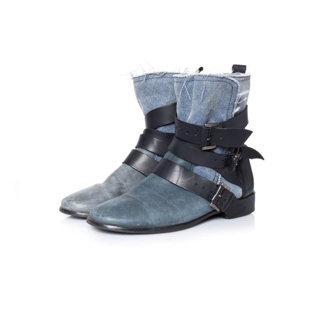 Maje Maje, Biker boots met gespjes in blauw leer met denim